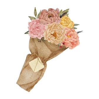 Bouquet de fleurs de pivoine avec aquarelle d'enveloppe de papier