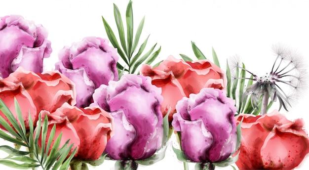 Bouquet de fleurs de roses à l'aquarelle