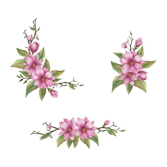 Bouquet de fleurs roses aquarelle