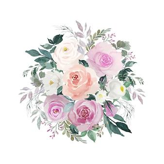 Bouquet de fleurs roses et blanches vintage aquarelle