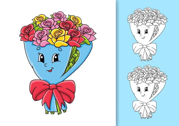 Bouquet de fleurs roses sur papier d'emballage avec noeud