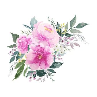 Bouquet de fleurs roses vintage aquarelle