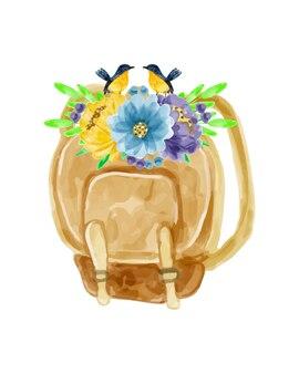 Bouquet de fleurs et sac à l'aquarelle