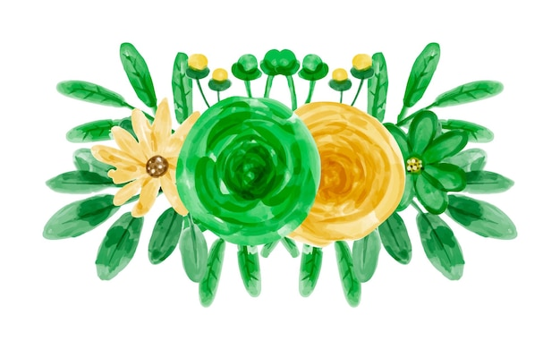 Bouquet de fleurs vertes jaunes à l'aquarelle