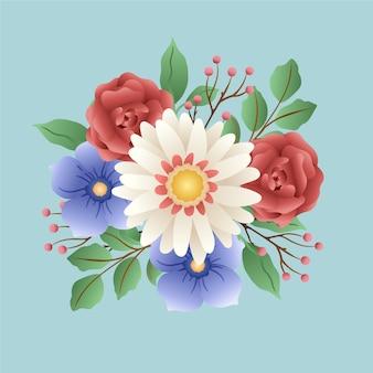 Bouquet de fleurs vintage coloré