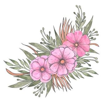 Bouquet de fleurs vintage et de verdure, arrangement floral