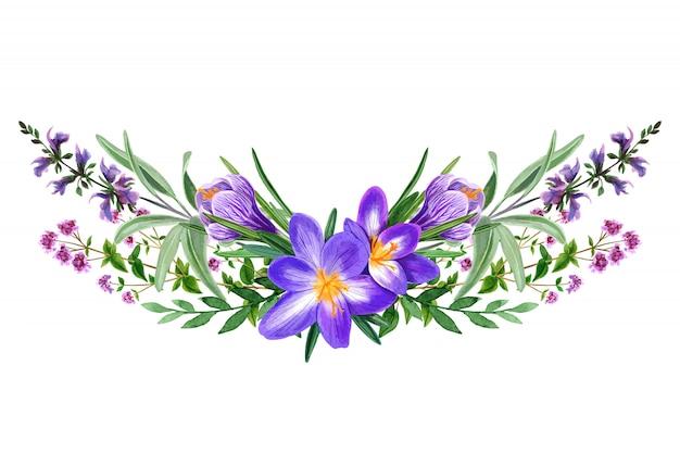 Bouquet de fleurs violettes des champs sauvages, dessinés à la main