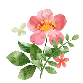 Bouquet floral abstrait de printemps. minuscules éléments floraux. illustration aquarelle dessinée à la main.