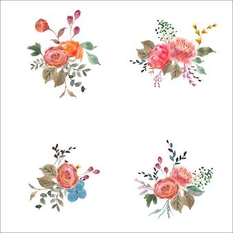 Bouquet floral d'aquarelle d'automne