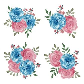 Bouquet floral aquarelle de couleur rose bleu