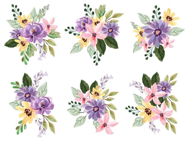 Bouquet floral aquarelle avec pivoines violettes et lys rose