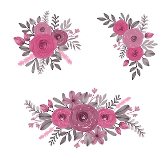 Bouquet floral aquarelle de roses