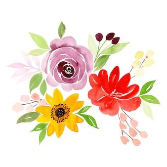 Bouquet floral aquarelle saint valentin