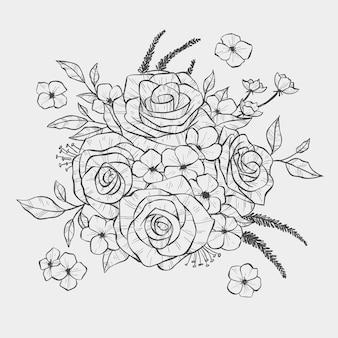 Bouquet floral dessiné à la main réaliste