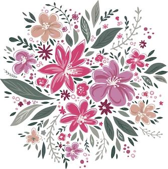 Bouquet floral avec des feuilles et des fleurs épanouies