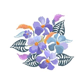 Bouquet floral. fleurs abstraites bleues, bourgeons, feuilles vertes. illustration florale, style aquarelle.