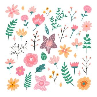 Bouquet floral de fleurs folkloriques fantaisie dessinés à la main. illustration botanique en style cartoon plat. idéal comme bannière, impression et carte.