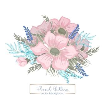 Bouquet floral de fleurs roses fantaisie dessinés à la main