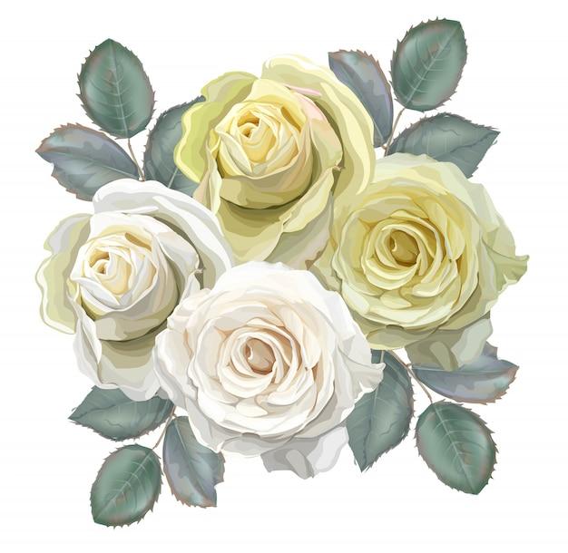 Bouquet floral avec des roses blanches et jaunes