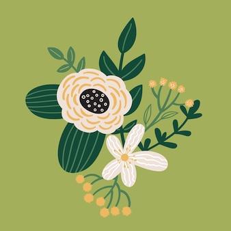 Bouquet floral de vecteur avec des feuilles plante et fleur fleur doodle illustration botanique