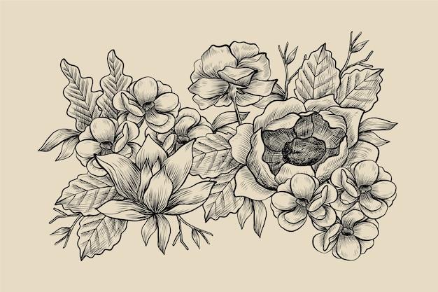 Bouquet floral vintage dessiné main réaliste