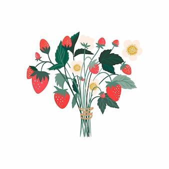 Bouquet de fraises avec fruits, fleurs et feuilles, isolé sur blanc
