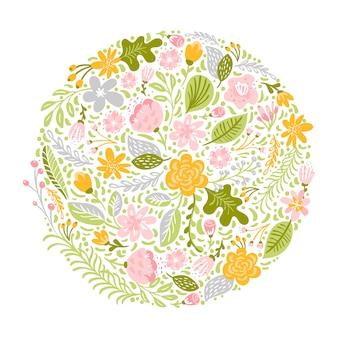 Bouquet d'herbes plat abstrait rond vert fleur.