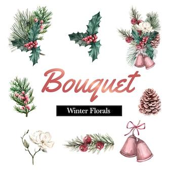 Bouquet d'hiver pour la décoration de cadre de bordure de décoration belle