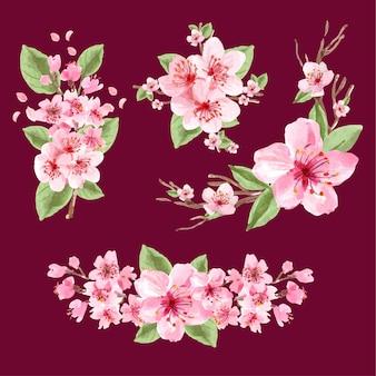 Bouquet avec illustration aquarelle de fleur de cerisier concept design