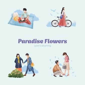 Bouquet avec illustration aquarelle de paradis amour concept design