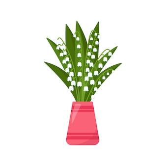 Bouquet de muguet dans un vase, illustration vectorielle