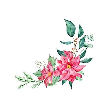 Bouquet de noël avec branche de sapin fleur blanche poinsettia et illustration aquarelle de houx