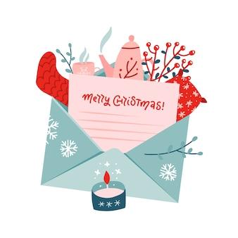 Bouquet de noël avec lettre dans une enveloppe. ensemble de gui, chaussette tricotée, théière, oreiller