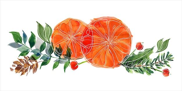 Bouquet de noël avec des oranges et des branches de houx