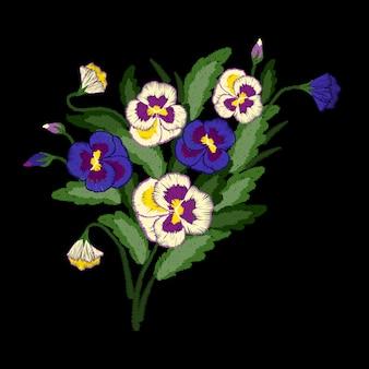 Bouquet de pensées de broderie, ornement folklorique traditionnel avec des fleurs pour la conception de vêtements.