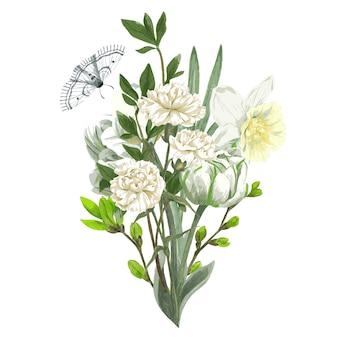Bouquet printanier luxuriant avec fleurs blanches, tulipes et narcisses et papillons. illustration aquarelle dessinée à la main.
