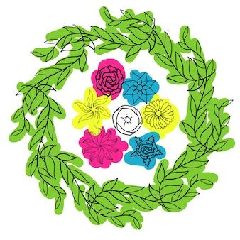 Bouquet de printemps de carte postale fleurs une ligne avec main de tache de couleur dessin illustration vectorielle minimale