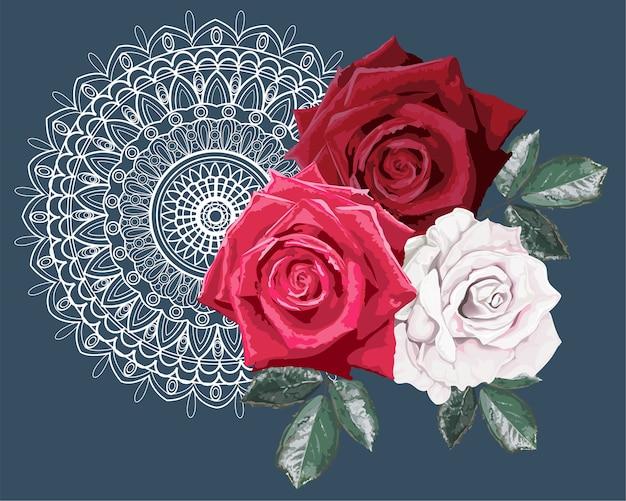 Bouquet de roses sur la dentelle