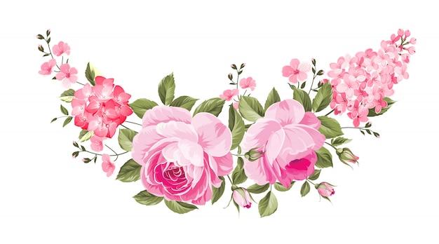 Bouquet de roses pour carte botanique.