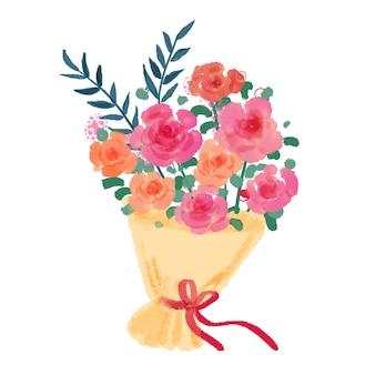 Bouquet de roses roses aquarelles peintes à la main