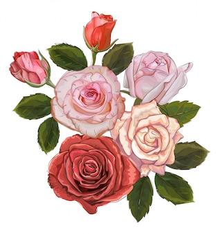 Bouquet de roses vintage isolé sur fond blanc