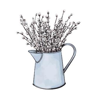 Un bouquet de saule dans un vase. une illustration vectorielle dessinée à la main.