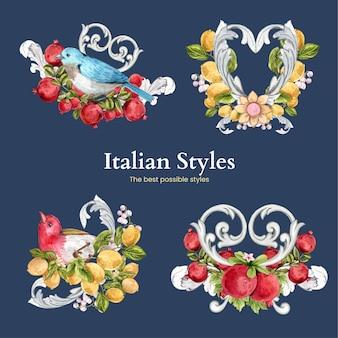 Bouquet serti de style italien dans un style aquarelle