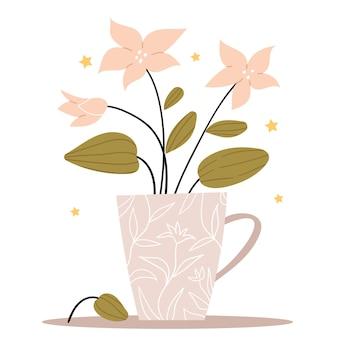 Bouquet simple fleurs roses dans une tasse grise