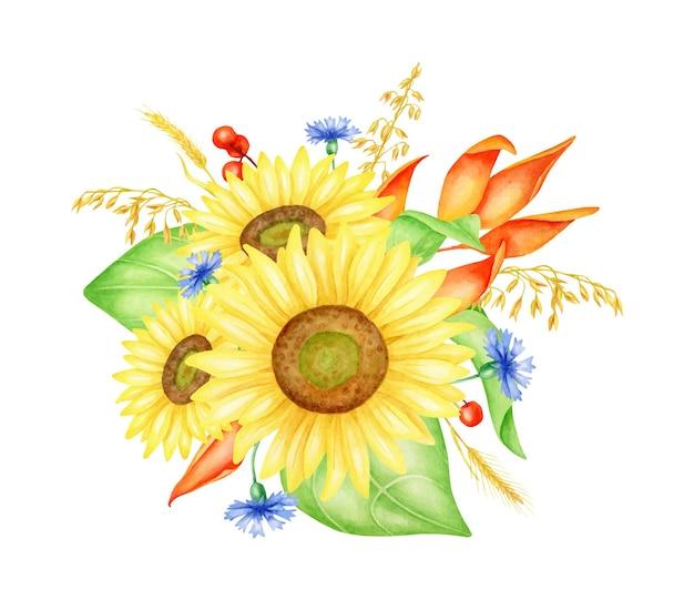 Bouquet de tournesols à l'aquarelle avec des bleuets laisse des baies et des épillets de blé