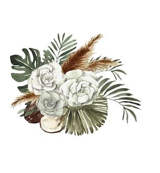 Bouquet tropical aquarelle avec noix de coco et orchidée