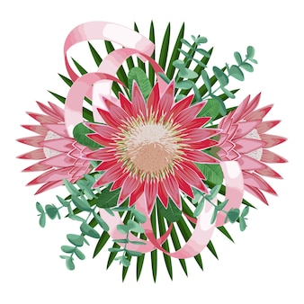 Bouquet tropical avec des feuilles de fleurs et des rubans composition florale tropicale pour cartes de voeux
