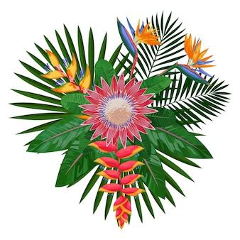 Bouquet tropical avec des fleurs et des feuilles composition florale tropicale maquette pour t-shirt