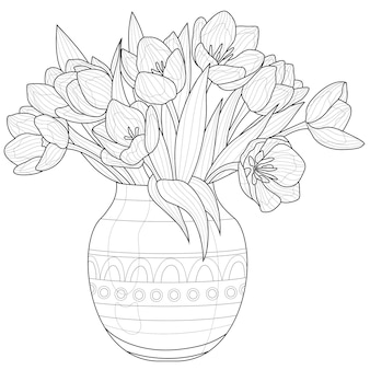 Bouquet de tulipes dans un vase.fleurs. livre de coloriage antistress pour enfants et adultes. illustration isolée sur fond blanc. style zen-tangle. dessin en noir et blanc
