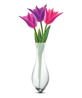 Bouquet de tulipes dans un vase en verre sur fond blanc. réaliste .